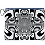 Black And White Ornamental Flower Canvas Cosmetic Bag (XXXL) Front