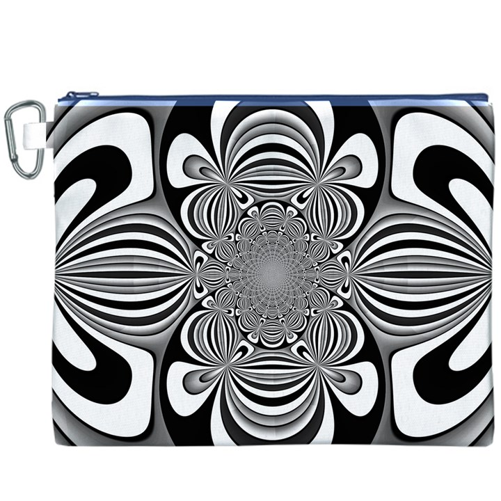 Black And White Ornamental Flower Canvas Cosmetic Bag (XXXL)