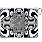 Black And White Ornamental Flower Canvas Cosmetic Bag (XXXL) Back