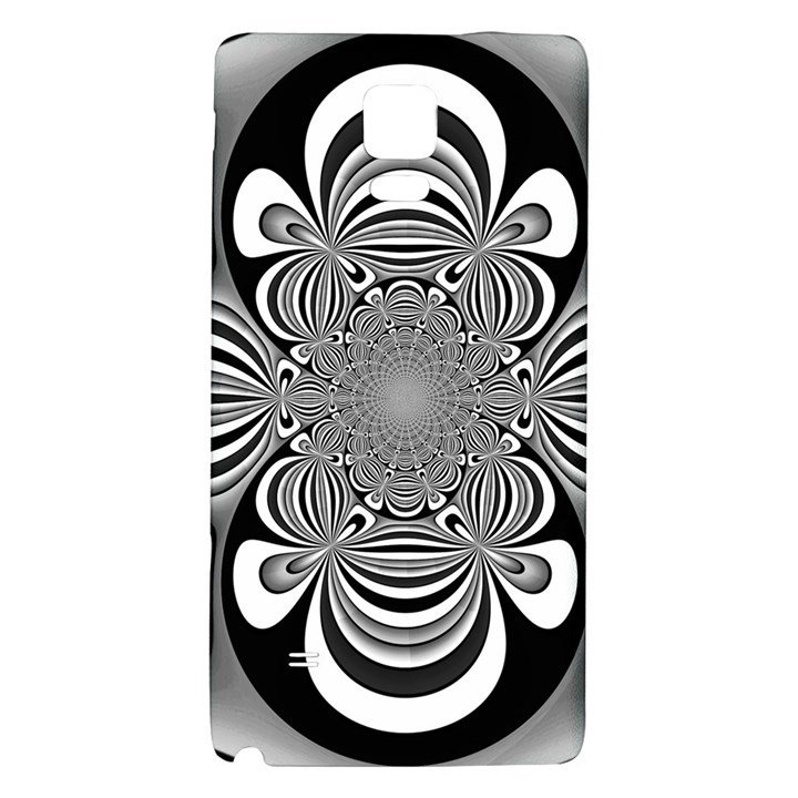 Black And White Ornamental Flower Galaxy Note 4 Back Case