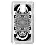 Black And White Ornamental Flower Samsung Galaxy Note 4 Case (White) Front