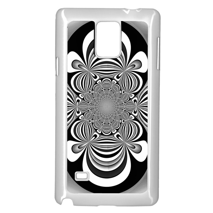 Black And White Ornamental Flower Samsung Galaxy Note 4 Case (White)