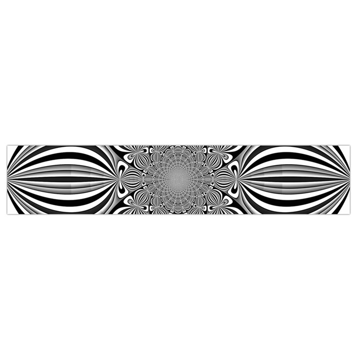 Black And White Ornamental Flower Flano Scarf (Small)