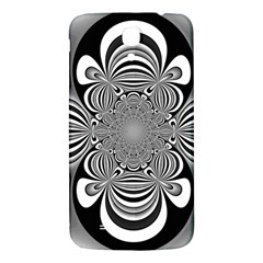 Black And White Ornamental Flower Samsung Galaxy Mega I9200 Hardshell Back Case