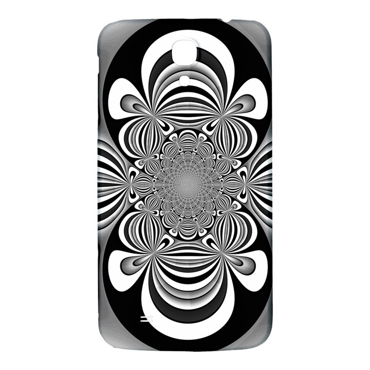 Black And White Ornamental Flower Samsung Galaxy Mega I9200 Hardshell Back Case