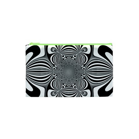 Black And White Ornamental Flower Cosmetic Bag (XS)