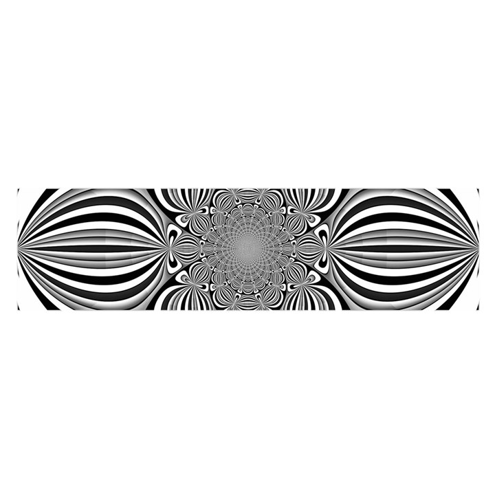 Black And White Ornamental Flower Satin Scarf (Oblong)