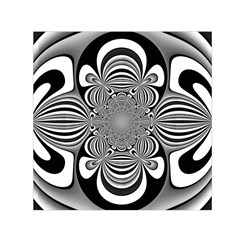 Black And White Ornamental Flower Small Satin Scarf (Square)