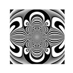 Black And White Ornamental Flower Small Satin Scarf (Square) Front