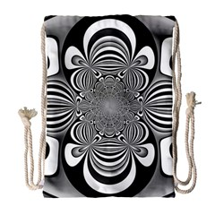 Black And White Ornamental Flower Drawstring Bag (Large)