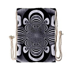 Black And White Ornamental Flower Drawstring Bag (small)