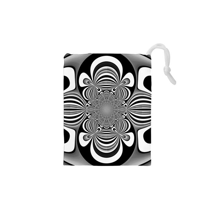 Black And White Ornamental Flower Drawstring Pouches (XS)