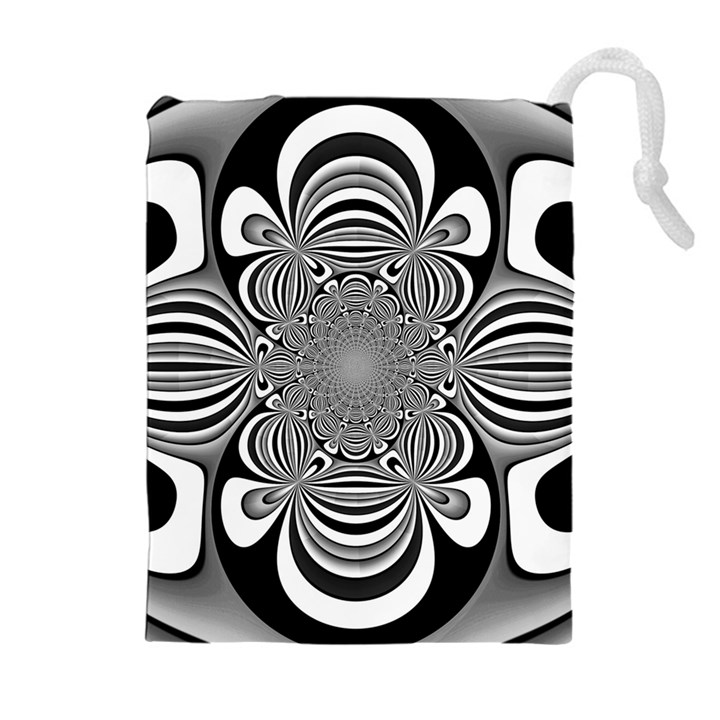 Black And White Ornamental Flower Drawstring Pouches (Extra Large)