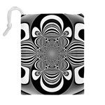 Black And White Ornamental Flower Drawstring Pouches (Extra Large) Back