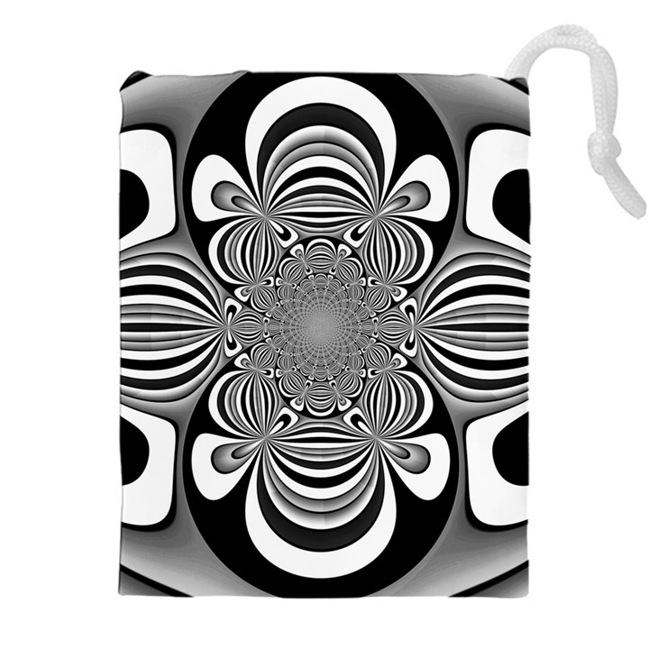 Black And White Ornamental Flower Drawstring Pouches (XXL)