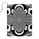 Black And White Ornamental Flower Drawstring Pouches (XXL) Back