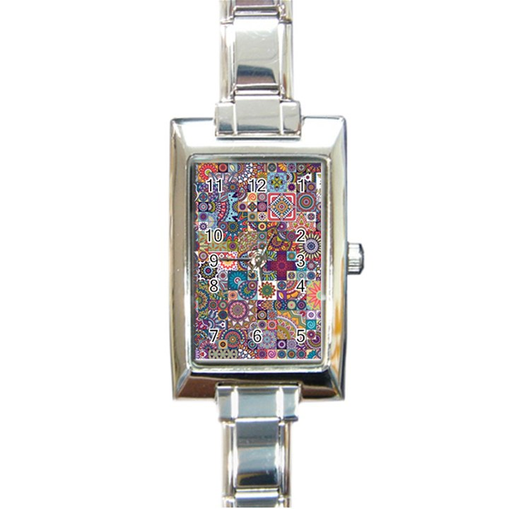 Ornamental Mosaic Background Rectangle Italian Charm Watch
