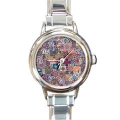 Ornamental Mosaic Background Round Italian Charm Watch