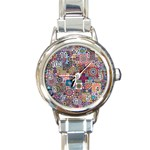 Ornamental Mosaic Background Round Italian Charm Watch Front
