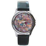 Ornamental Mosaic Background Round Metal Watch Front