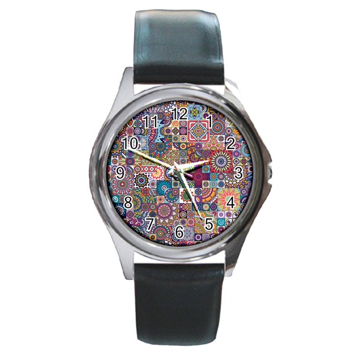 Ornamental Mosaic Background Round Metal Watch