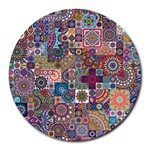 Ornamental Mosaic Background Round Mousepads Front