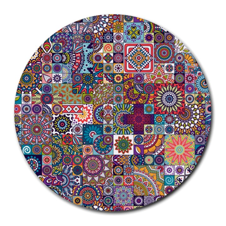 Ornamental Mosaic Background Round Mousepads