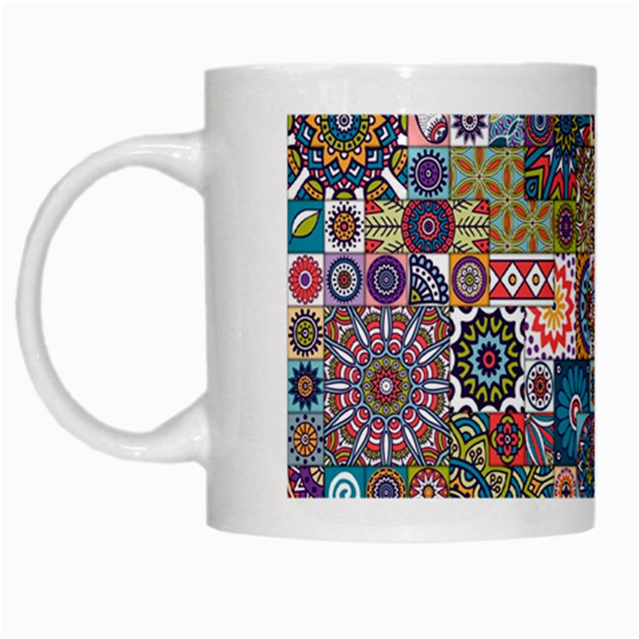 Ornamental Mosaic Background White Mugs