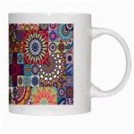 Ornamental Mosaic Background White Mugs Right