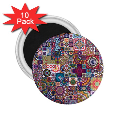 Ornamental Mosaic Background 2.25  Magnets (10 pack)