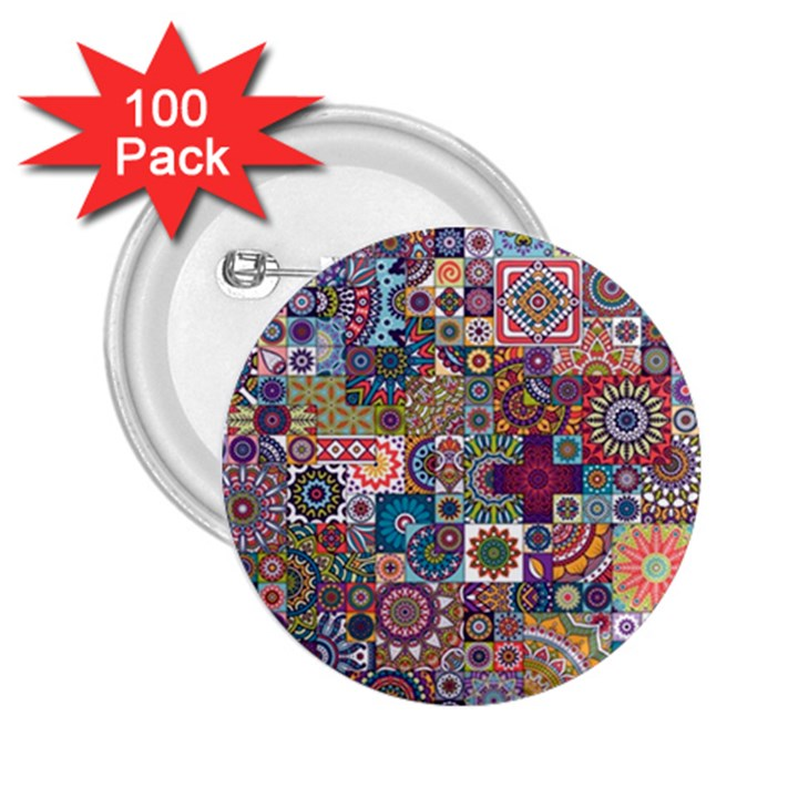 Ornamental Mosaic Background 2.25  Buttons (100 pack)