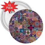 Ornamental Mosaic Background 3  Buttons (10 pack)  Front
