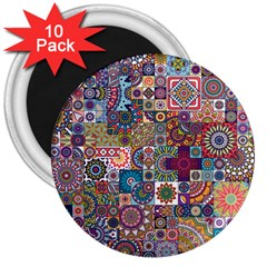 Ornamental Mosaic Background 3  Magnets (10 pack)