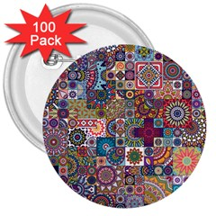 Ornamental Mosaic Background 3  Buttons (100 pack)
