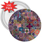 Ornamental Mosaic Background 3  Buttons (100 pack)  Front