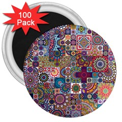 Ornamental Mosaic Background 3  Magnets (100 pack)