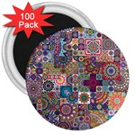 Ornamental Mosaic Background 3  Magnets (100 pack) Front