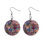 Ornamental Mosaic Background Mini Button Earrings Front