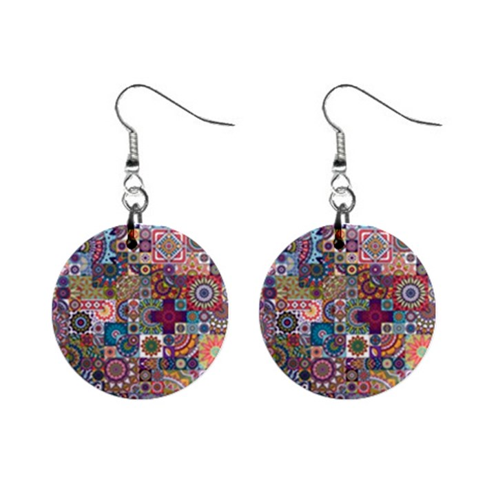 Ornamental Mosaic Background Mini Button Earrings