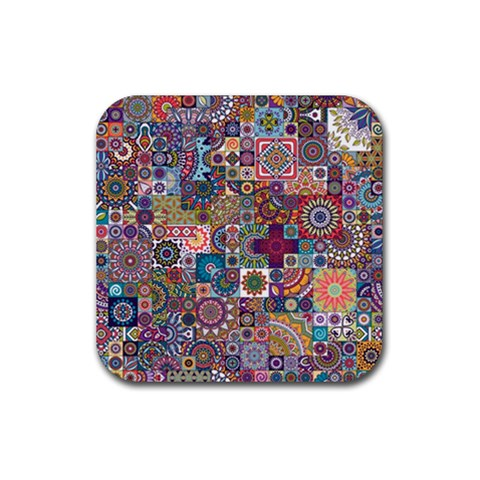 Ornamental Mosaic Background Rubber Square Coaster (4 pack)