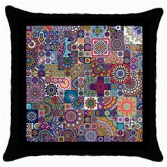 Ornamental Mosaic Background Throw Pillow Case (Black)