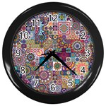 Ornamental Mosaic Background Wall Clocks (Black) Front
