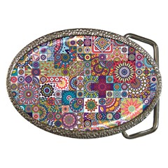 Ornamental Mosaic Background Belt Buckles