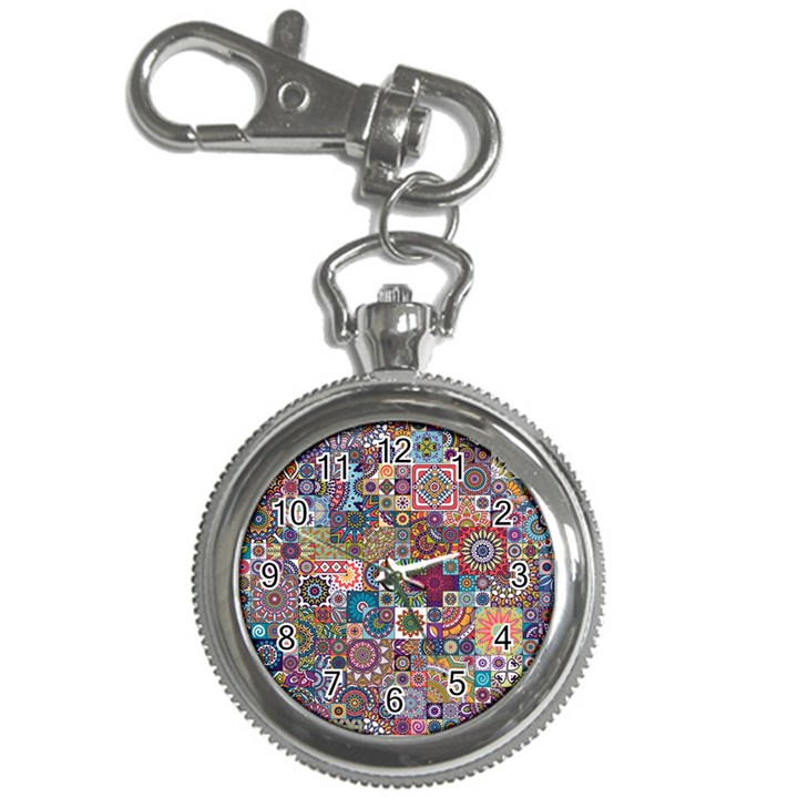 Ornamental Mosaic Background Key Chain Watches