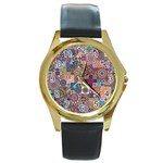 Ornamental Mosaic Background Round Gold Metal Watch Front
