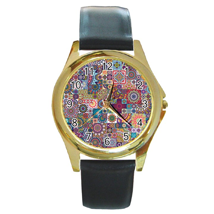 Ornamental Mosaic Background Round Gold Metal Watch