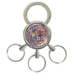 Ornamental Mosaic Background 3-Ring Key Chains Front