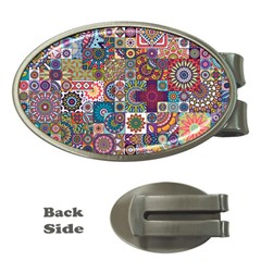 Ornamental Mosaic Background Money Clips (Oval)