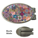 Ornamental Mosaic Background Money Clips (Oval)  Front