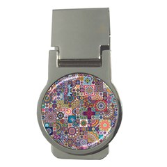 Ornamental Mosaic Background Money Clips (Round)